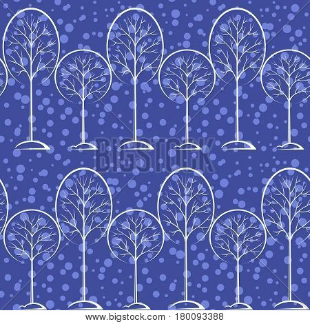 Seamless Blue Background with Winter Landscape, White Contour Pictogram Forest Trees, Tile Pattern for your Christmas Holiday Design. Vector