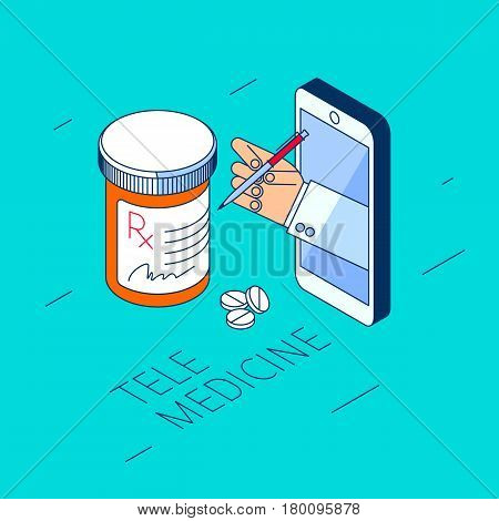 Doctor's hand holding pill bottle. Through the phone screen giving drugs cure to patient. Isometric 3d flat line concept illustration. Vector element for tele online medicine design infographic.