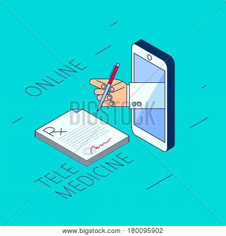 Doctor's hand holding a pen. Through the phone screen signing rx prescription. Isometric 3d flat line concept illustration. Vector element for tele online remote medicine design and infographic.