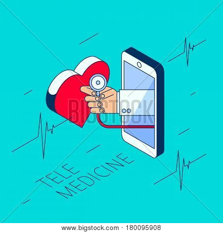 Doctor's hand holding a stethoscope. Through the phone screen checking heart pulse. Isometric 3d flat line concept illustration. Vector element for tele online remote medicine design and infographic
