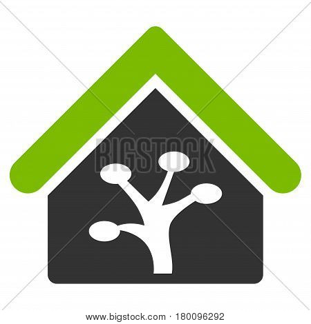 Plant Glasshouse vector icon. Flat bicolor eco green and gray symbol. Pictogram is isolated on a white background. Designed for web and software interfaces.