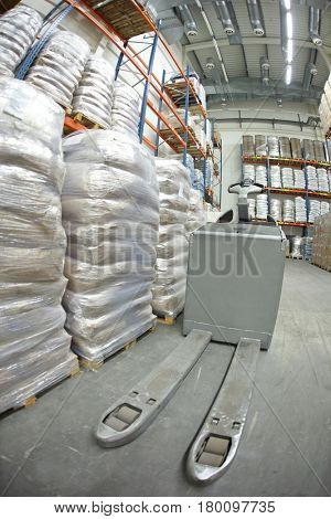forklift loader  in storehouse