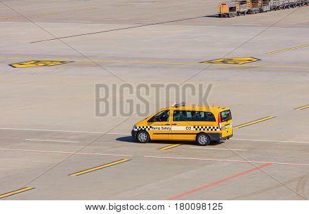 Kloten, Switzerland - 28 March, 2017: a Ramp Safety car in the Zurich Airport. The Zurich Airport, also known as the Kloten Airport, is the largest airport in Switzerland.