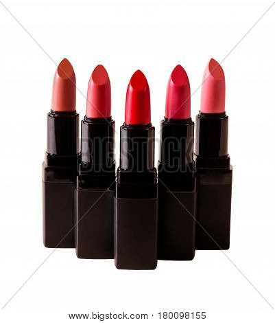 Set of beautiful lipsticks isolated on white background