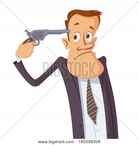 Businessman with gun wants to commit suicide. Businessman pointing a gun at his head