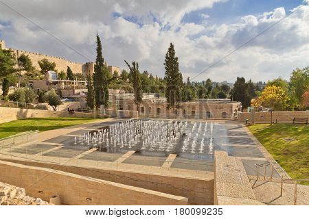 JERUSALEM, ISRAEL - DECEMBER 26, 2016: Light-musical fountain in Teddy Kollek Park in Jerusalem. The park is named of Teddy Kollek, the first mayor of the united Jerusalem