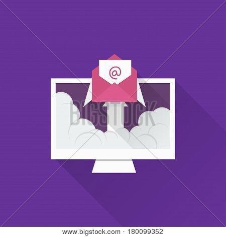 Email illustration. Sending email concept illustration. flat design. Email marketing.