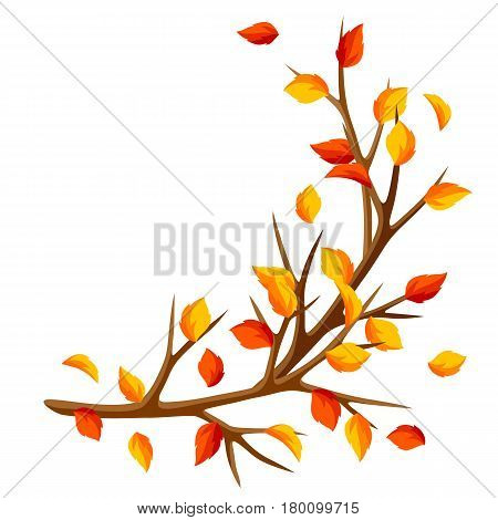 Autumn branch of tree and yellow leaves. Seasonal illustration.