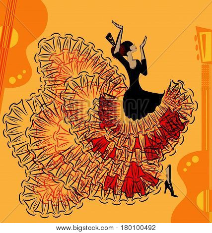abstract yellow background with guitar and Spanish dancer in red-black dress