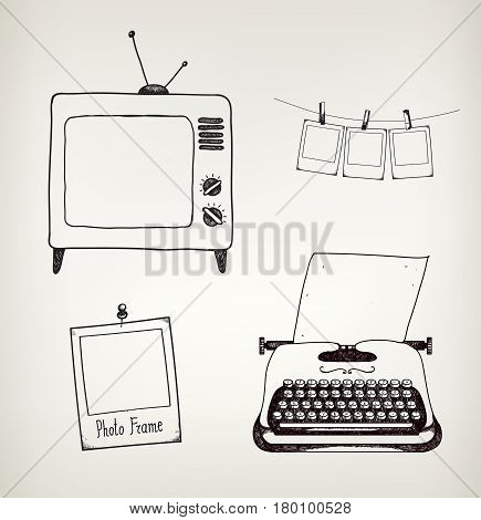 Vector set of hand drawn vintage typewriter, tv, photo frames. Retro set