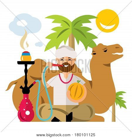 Man on vacation sitting near a camel. Isolated on a white background