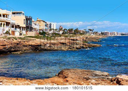 Rocky coastline of Torrevieja. Province of Alicante. Southern Spain