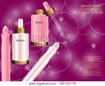 Glamorous Set of Collagen Premium Serum Container Template With Dropper and Eye Roll-on on the Sparkling Effects Background. Mock-up 3D Realistic Vector illustration for design template