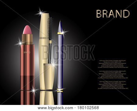 Glamorous Set of tubes with Lip Colour Balm Mascara Package and Eyeliner on the Sparkling Effects Background. Mock-up 3D Realistic Vector Illustration for Design template
