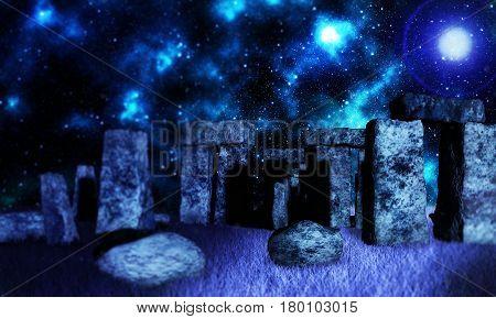 Fantasy render of Celtic druid bathing in sunrays shining through standing stones at Stonehenge 3d render