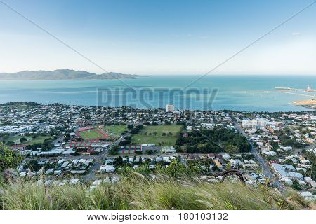 Townsville and Magnetic Island in the distance from high viewpoint of Castle Hill North Queensland Australia