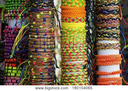 A set of colorful bangles on display at a local store..