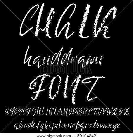 Handwritten vector chalked alphabet. Imitation texture of chalk. Modern hand drawn alphabet. Isolated letters. Vector illustration.