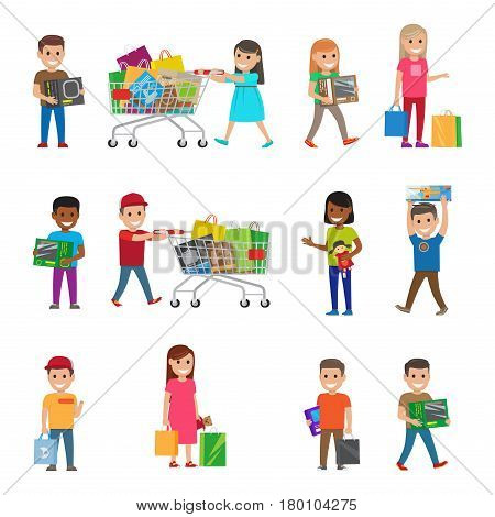 Smiling children doing shopping poster on white. Female and male young people hold or carry packages or present boxes. Vector colourful collection in flat style of children s shopping process.