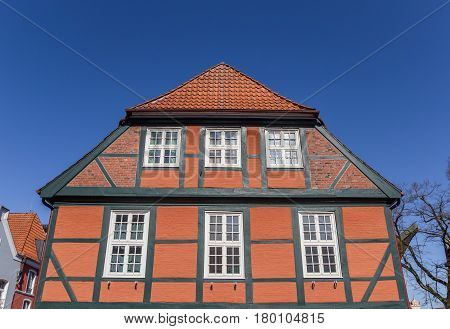 Typical German Half Timbered House At The Fish Market In Stade
