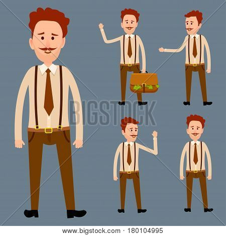 Redhead male cartoon character with mustaches in brown trousers with suspenders, shirt and tie isolated vector illustration. Man with raised hand, with briefcase full of money and simple model.