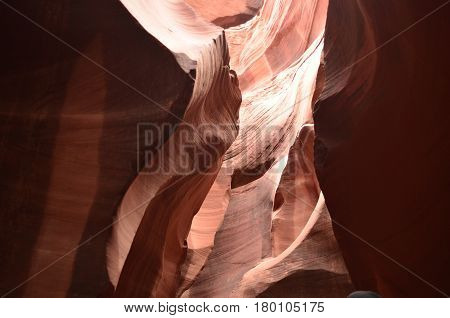 Sunlight shining on the red rock of Antelope Canyon in Arizona.