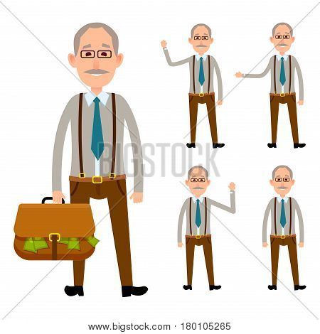 Elderly close up person holding bag with money and his four full length portraits with waving hands. Vector colorful poster with white background of man small icon collection and big picture