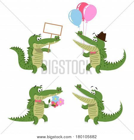 Crocodiles set isolated on white. Cartoon character with empty signboard, air balloons, with flowers in cute bow, and with wide opened mouth. Big reptiles vector illustration of friendly crocs