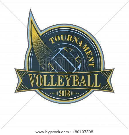 Volleyball Tournament Vector Emblem With Ball.