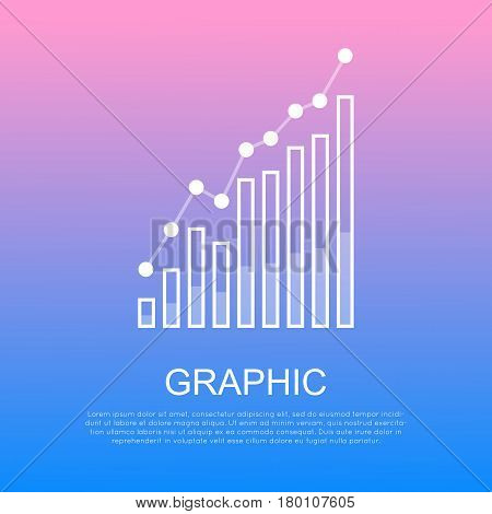 Graphic rising column chart with curve line and white points above and written information under. Column chart showing the growth on a light background. Vector illustration of progress in business