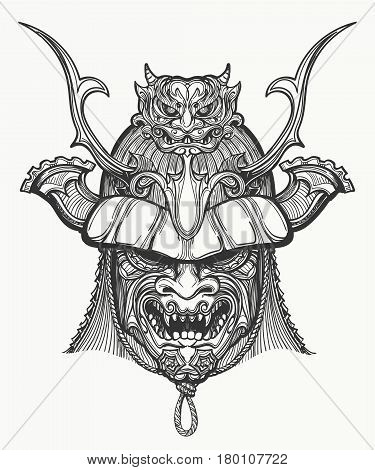 Samurai mask hand drawn vector illustration. Japanese traditional martial mask. Black and white isolated on white.