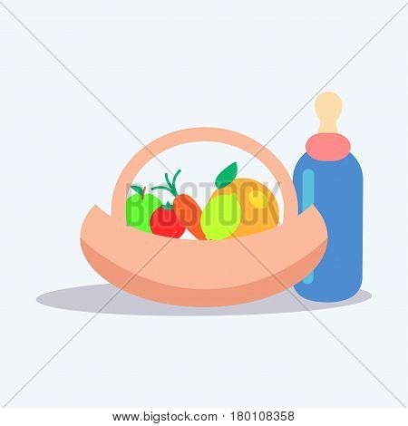 Little baby nutrition. Ripe fruits and vegetables in basket near bottle with dummy flat vector isolated on white. Natural childrens food illustration for kids healthy ration concepts