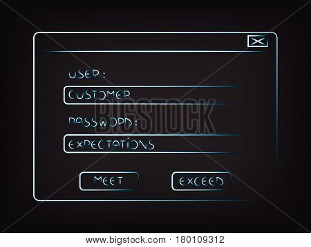 user Customer password Expectations, conceptual pop-up window vector