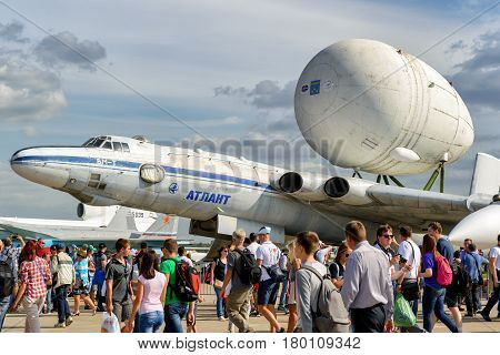 MOSCOW REGION - AUGUST 28, 2015: The Soviet strategic-airlift airplane Myasishchev VM-T Atlant at the International Aviation and Space Salon (MAKS) in Zhukovsky. The VM-T was modified to carry the Soviet space shuttles.
