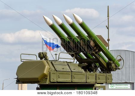 MOSCOW REGION - AUGUST 28, 2015: The Buk-M2 russian missile system at the International Aviation and Space Salon (MAKS).