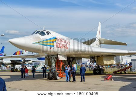 MOSCOW REGION - AUGUST 28, 2015: Russian supersonic strategic bomber Tupolev Tu-160