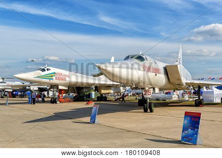 MOSCOW REGION - AUGUST 28, 2015: Russian supersonic strategic bombers Tupolev Tu-160