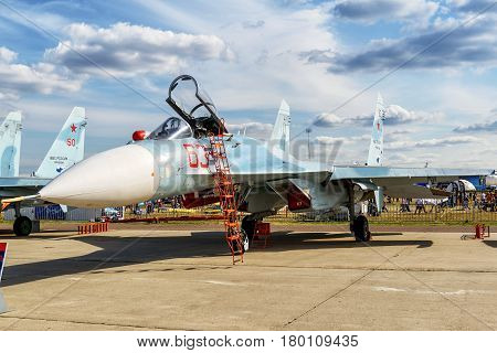 MOSCOW REGION - AUGUST 28, 2015: Russian multirole fighter Sukhoi Su-27sm3