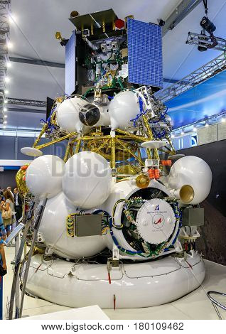 MOSCOW REGION - AUGUST 28, 2015: The Russian spacecraft Luna-Glob mission to the moon at the International Aviation and Space Salon (MAKS) in Zhukovsky. The mission is scheduled for 2019.