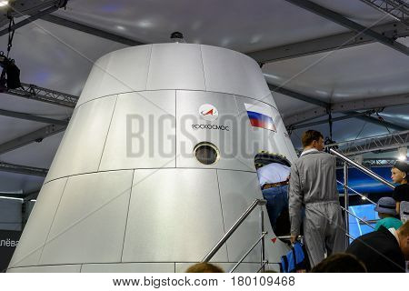 MOSCOW REGION - AUGUST 28, 2015: Russian new generation crew transportation vehicle at the International Aviation and Space Salon (MAKS) in Zhukovsky.
