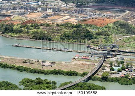 Aerial view of Miraflores locks and the construction of a wider channel and second set of locks in the far left, Panama Canal