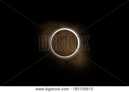 Sun eclipse on a dark background. 3D render / illustration.