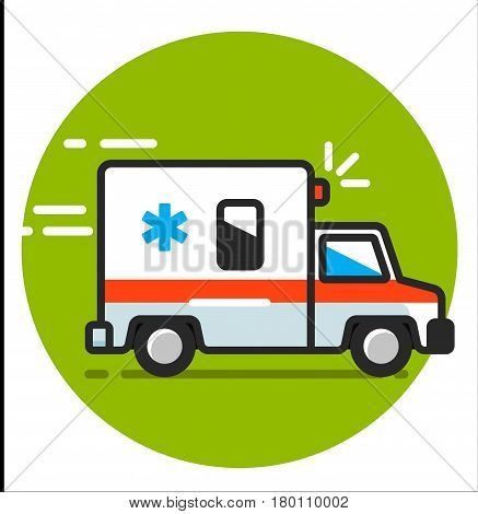 illustration ambulance car. Ambulance auto paramedic emergency. Ambulance vehicle medical evacuation.