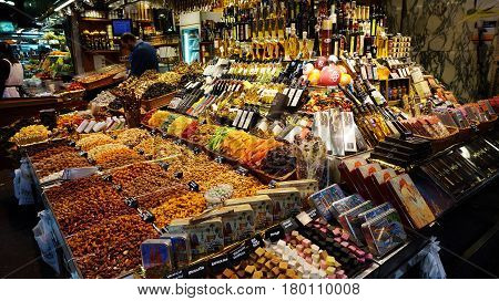 Colorful Candy And Drinks In The Famous La Boqueria Market......