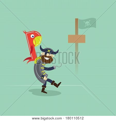 Vector illustration of a pirate with parrot standing in a port