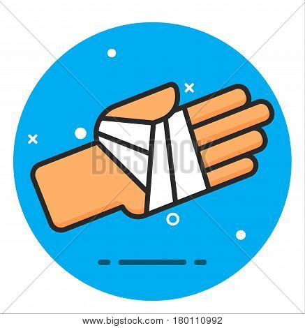 illustration icon for bandaged hand medical health