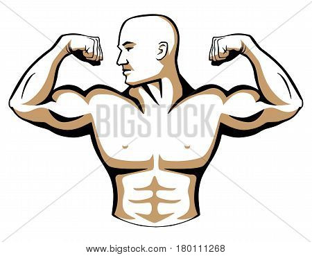 Male body builder illustration, flexing arm muscles, head turned to right.