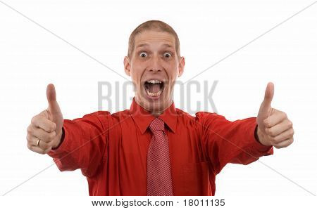 Business Man Showing Thumbs Up Sign