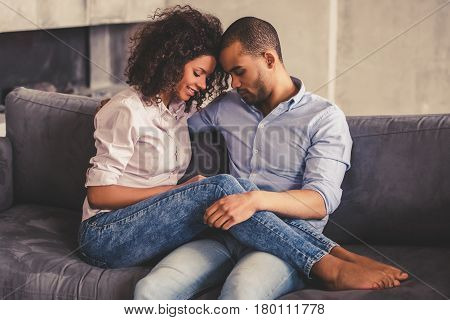 Afro American Couple At Home