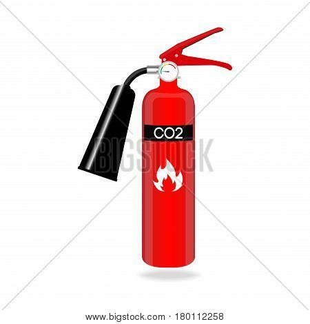 Carbon dioxide fire extinguisher isolated on white background. Vector illustration